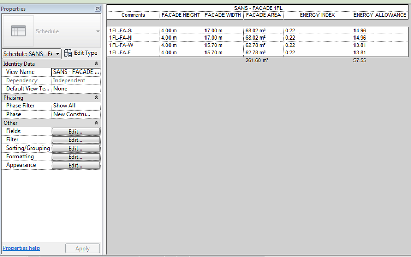 Facade Area and Energy Allowance schedule in Revit